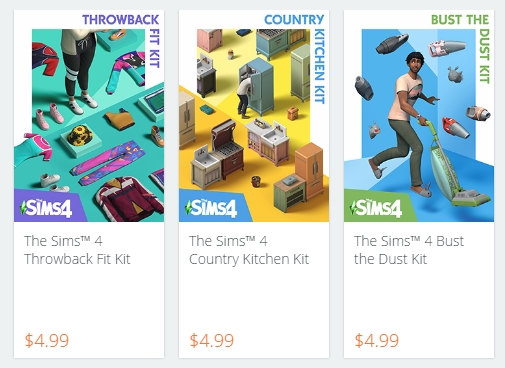 The three kits launching for The Sims 4